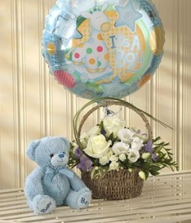 Blue Bundle Of Joy Balloon Teddy
